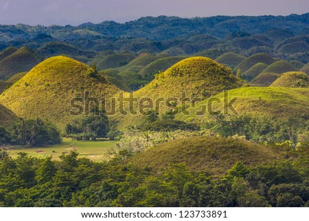 Panoramic view of the Chocolate Hills in Bohol, Philippines. - stock photo