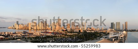 Panoramic view of the city and port of Miami in early morning - stitched from 4 photographs - stock photo