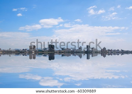 panoramic view of the city and the reflection in China