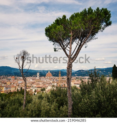 Panoramic view of the city from Forte Belvedere. Florence, Italy - stock photo
