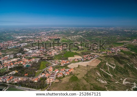 Panoramic view of the city from the fortress of San Marino - stock photo