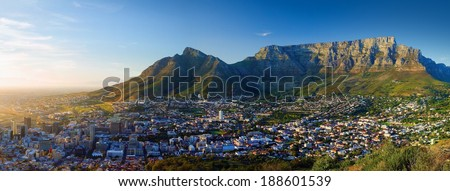 Panoramic view of the city in Dawn (Sunrise in Cape Town, Table Mountain views) - stock photo