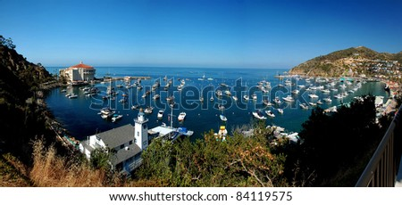Panoramic view of the city of Avalon in Santa Catalina Island, California. Typical architectural style of the area.