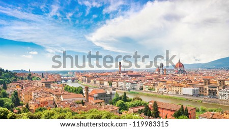 Panoramic view of the city of Florence with river Arno in Tuscany, Italy - stock photo