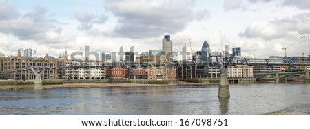 Panoramic view of the City of London from the River Thames, UK
