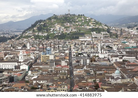 Panoramic view of the city of Quito in Ecuador - stock photo