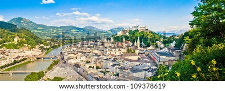 Panoramic view of the city of Salzburg, Austria - stock photo