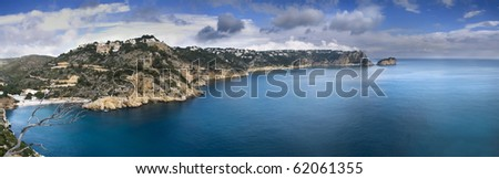 Panoramic view of the coast of Javea on the Costa Blanca of Spain. Image obtained from a cliff with difficult access, stitching three pictures to achieve the panoramA - stock photo