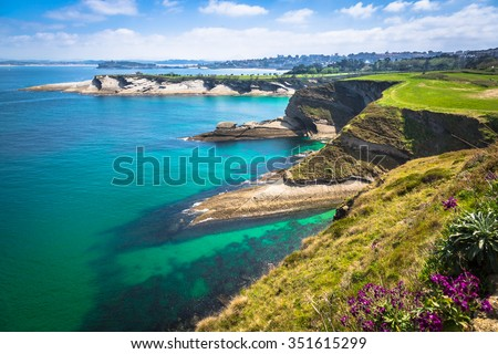 Panoramic view of the coast of Santander from the Bella Vista lighthouse (Cantabria) - stock photo
