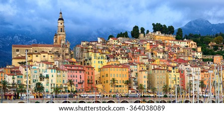 Panoramic view of the colorful medieval town of Menton on french Riviera, Provence, France - stock photo