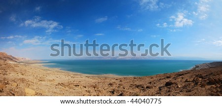 panoramic view of the dead sea - stock photo