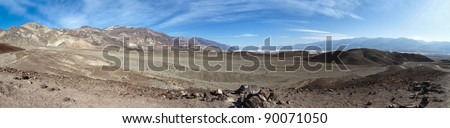 panoramic view of the death valley national park - stock photo
