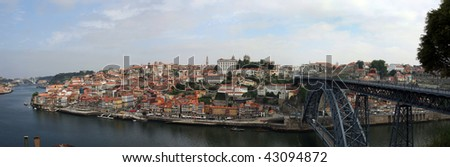 Panoramic view of the downtown area of the city of Porto, Portugal. - stock photo
