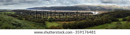 Panoramic view of the Dyfi Estuary, looking north towards Aberdovey in Gwynedd, West Wales, UK from Ceredigion. - stock photo