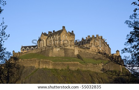 Panoramic view of the Edinburgh Castle at Dusk, Scotland - stock photo