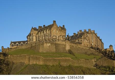 Panoramic view of the Edinburgh Castle , Scotland - stock photo