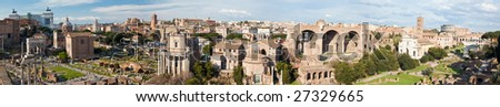 Panoramic view of the famous italian landmark: the ancient Roman Forum. Up to 10,000 pxl width. - stock photo