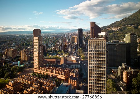 Panoramic view of the financial district of Bogota, Colombia - stock photo