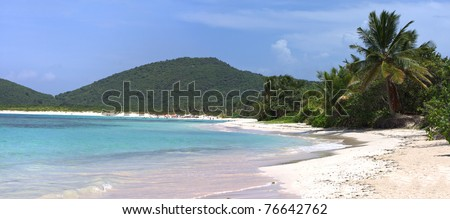 Panoramic view of the gorgeous white sand filled Flamenco beach on the Puerto Rican island of Culebra. - stock photo