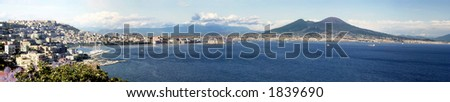 Panoramic view of the gulf of Naples with mount Vesuvius in the background - stock photo