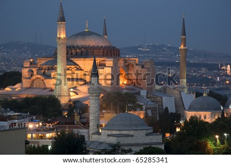 Panoramic view of the Hagia Sophia by night - istanbul Turkey - stock photo