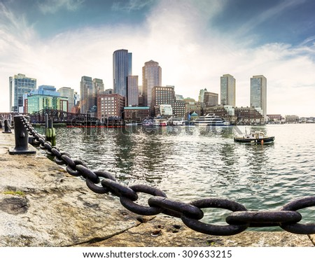 Panoramic view of the historic architecture of Boston in Massachusetts, USA at Back Bay. - stock photo