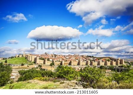 Panoramic view of the historic city of Avila, Castilla y Leon, Spain  - stock photo