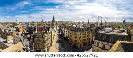 Panoramic view of the historic city of Oxford, UK - stock photo