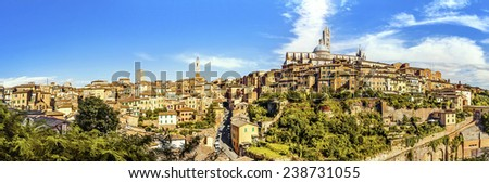 Panoramic view of the historic city of Siena. Tuscany, Italy - stock photo