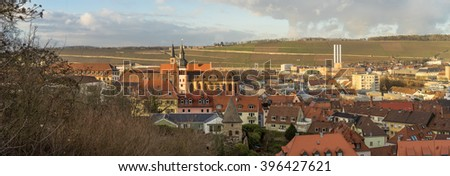 Panoramic view of the historic city of Wurzburg with wineyard, region of Franconia, Northern Bavaria, Germany - stock photo