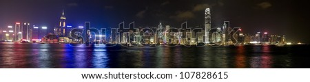 panoramic view of the Hong Kong skyline at evening. - stock photo