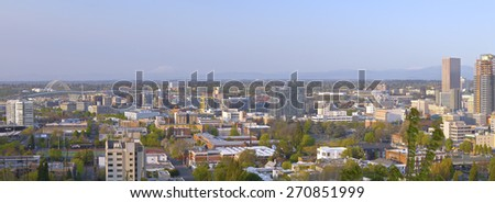 Panoramic view of the industrial area in Portland Oregon and mt. St. Helen's. - stock photo