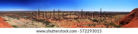 Panoramic view of the landscape of the National Park King Canyon and central Australia, the heart of the whole continent