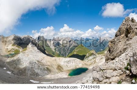 Panoramic view of the Lechtal Alps, Tirol, Austria - stock photo
