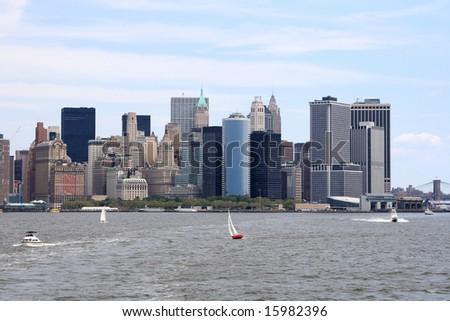 Panoramic view of the lower New York City skyline - stock photo