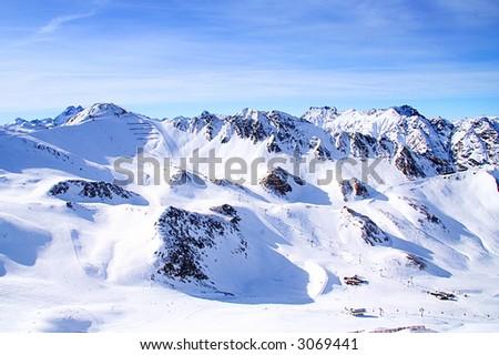 Panoramic view of the main Caucasian mountain ridge. - stock photo
