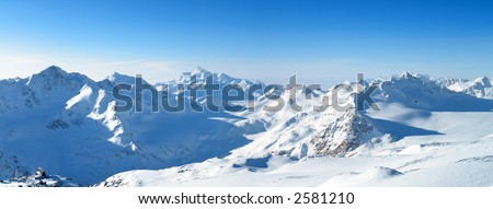 Panoramic view of the main Caucasian mountain ridge. View from Elbrus, 3500m