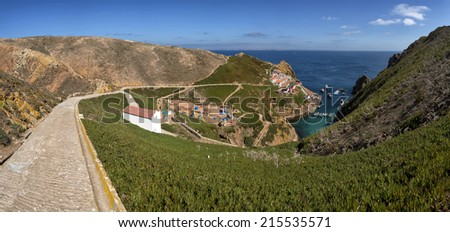 Panoramic view of the main island of berlengas in the Atlantic Ocean, Portugal - stock photo