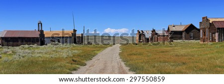 Panoramic view of the main street through Bodie, a genuine gold mining ghost town in California. - stock photo
