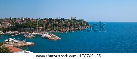 Panoramic view of the marina in Antalya, Turkey  - stock photo