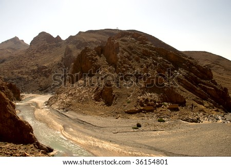 Panoramic view of the Middle Atlas mountains - stock photo