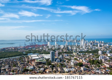 Panoramic view of the modern section of Cartagena, Colombia - stock photo