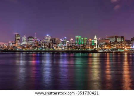 Panoramic view of the Montreal Skyline at Night - stock photo