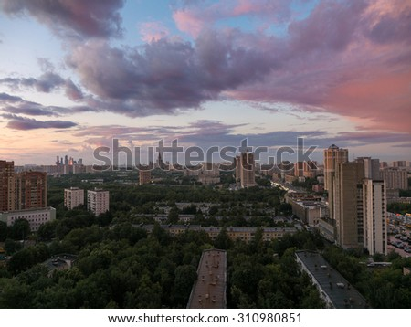 panoramic view of the Moscow on sunset from a tall building