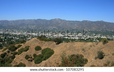 Panoramic view of the mountains from Griffith Park, California - stock photo