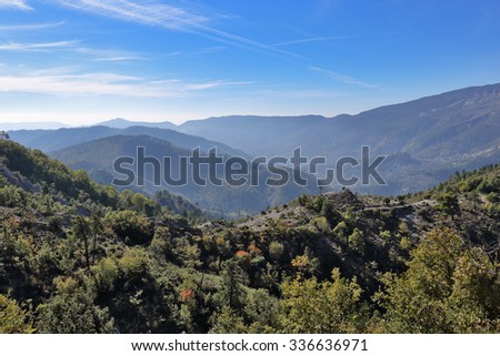 Panoramic view of the mountains in the Alpes-Maritimes