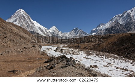 Panoramic view of the Mt. Everest region near Gorak Shep, Nepal