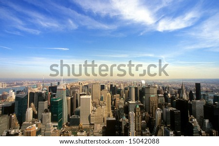 Panoramic view of the New York City skyline - stock photo