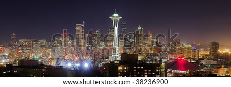 Panoramic view of the nightly Seattle and Space Needle. - stock photo