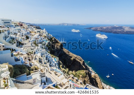 Panoramic view of the Oia village, cruce ships, Santorini, greece